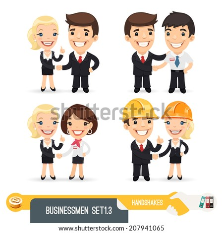 Businessmen Cartoon Characters Set1.3. Isolated on White Background. Clipping paths included. - stock photo