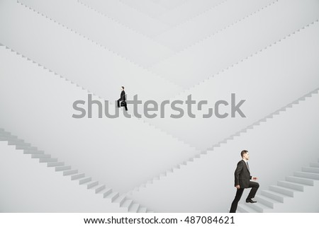 Businessmen climbing abstract grey stairs. Success concept. 3D Rendering