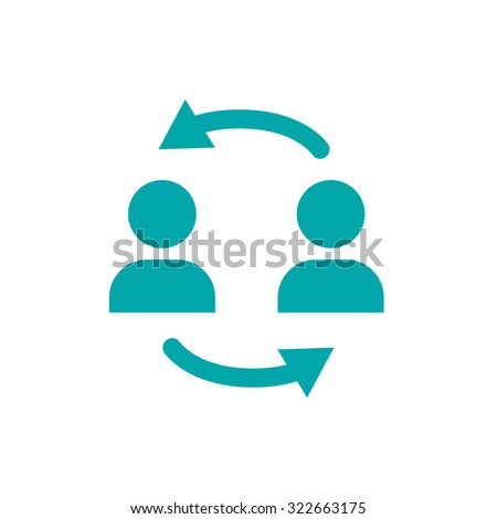 businessmen discussing icon - businessmen dialog speech - business transaction - business agreement - concept flat style design illustration icon - stock photo