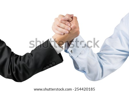 businessmen engaged in arm wrestling isolaton on white - stock photo