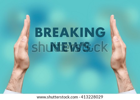 """Businessmen from both hands """" BREAKING NEWS """" writes - stock photo"""