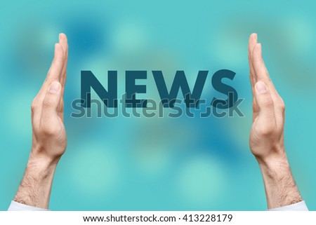 """Businessmen from both hands """" NEWS """" writes - stock photo"""