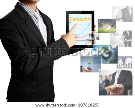 Businessmen, hand touch screen graph on a tablet - stock photo