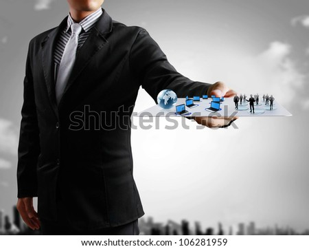 Businessmen, hand touch screen social network structure - stock photo