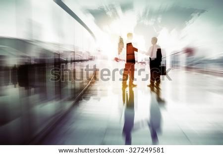 Businessmen Handshake Corporate Greeting Communication Concept - stock photo