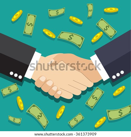 Businessmen handshake. illustration in flat design at green background with dollars and gold coins. shaking hands. successful transaction Raster version - stock photo