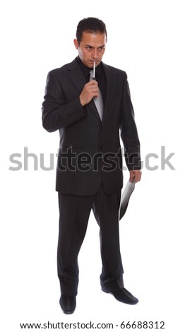 Businessmen holding a fila and pen, isolated on white - stock photo