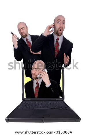 Businessmen holding cell phones coming out of a laptop isolated over white