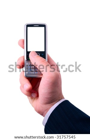 businessmen holds mobile phone. the screen is cut with clipping path