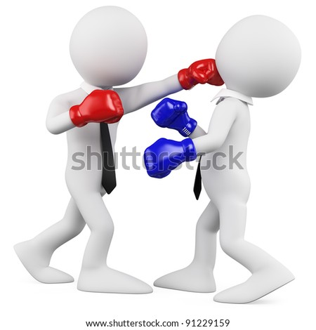 Businessmen in a boxing match - stock photo