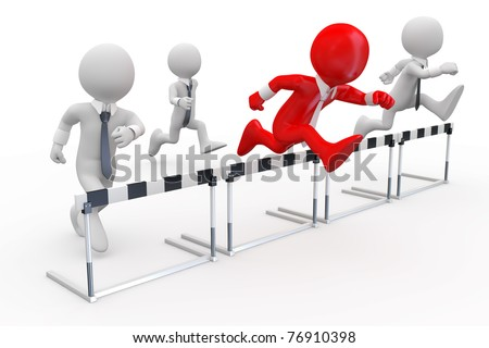 Businessmen in a hurdle race with the leader at the head - stock photo