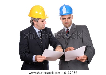 businessmen in a meeting, discussing new project, isolated over white