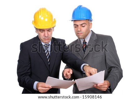 businessmen in a meeting, discussing new project, isolated over white background