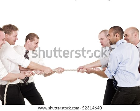 Businessmen in a tug-of-war isolated on white background - stock photo