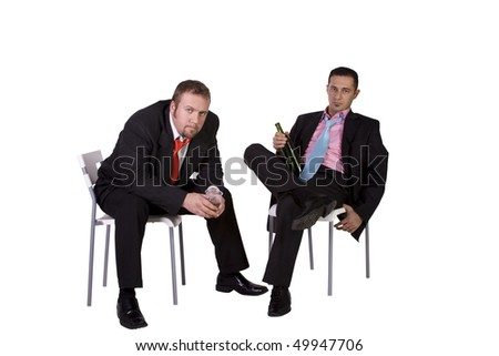 Businessmen in an Office Drinking Together - Isolated Background - stock photo