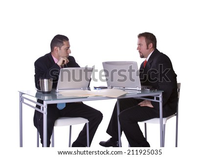 Businessmen in an Office Working Together - Isolated Background - stock photo