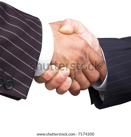 Businessmen in pinstripe suits shake hands. Isolated against a white background. - stock photo