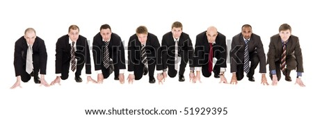 Businessmen in start position isolated on white background - stock photo