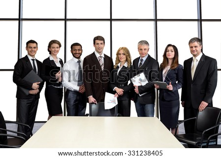 Businessmen in the conference hall. Auditing Company. Negotiations of business corporation. Cooperation between the countries. - stock photo