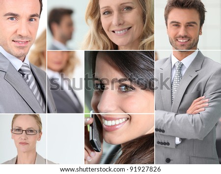 Businessmen mosaic - stock photo