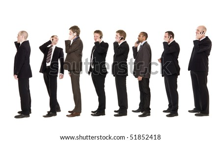 Businessmen on a line using their cellphones - stock photo