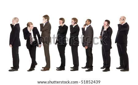 Businessmen on the phone isolated on white background - stock photo