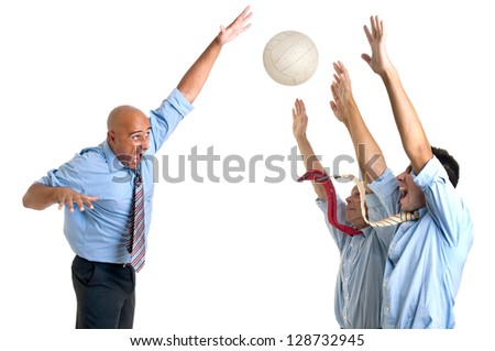 Businessmen playing volley isolated - stock photo
