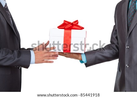 Businessmen present gift box isolated over white background, series photo - stock photo