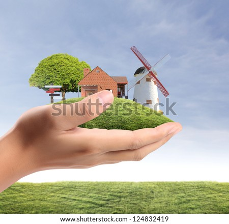 businessmen Protect Your House in hand - stock photo