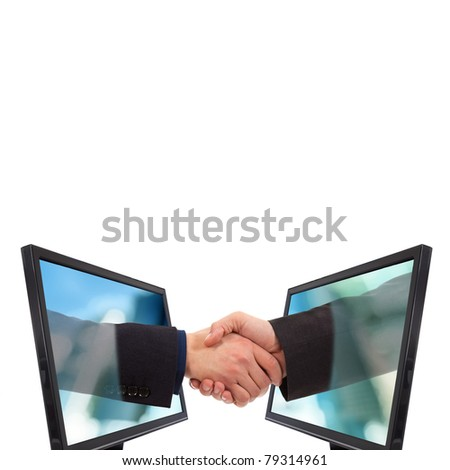 Businessmen shake hands from two lcd monitors isolated on white