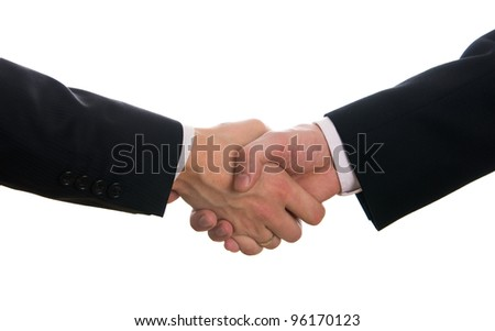 Businessmen shaking hands after signing the contract isolated on white - stock photo