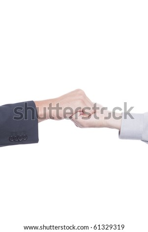 Businessmen shaking hands and making silent signs with body language