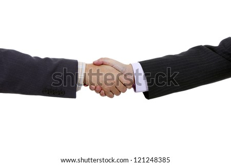 Businessmen shaking hands isolated on white Background - stock photo