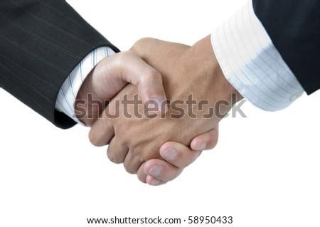 Businessmen shaking hands isolated on white background - stock photo