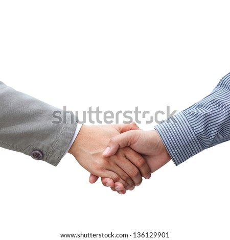 Businessmen shaking hands on white background - stock photo
