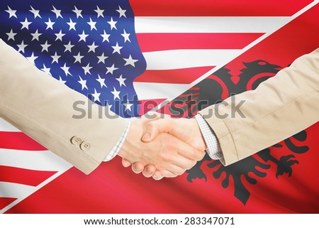 Businessmen shaking hands - United States and Albania
