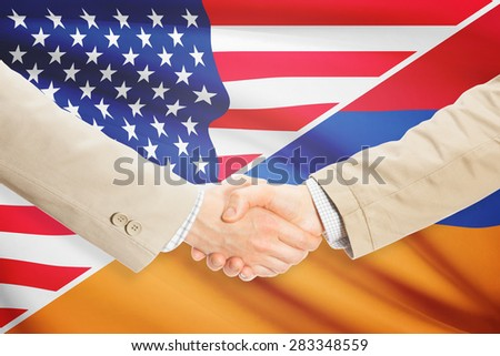 Businessmen shaking hands - United States and Armenia
