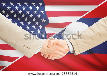 Businessmen shaking hands - United States and Laos