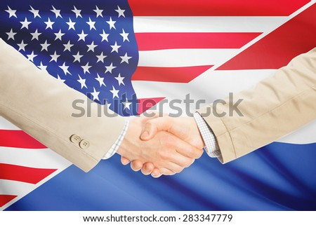 Businessmen shaking hands - United States and Netherlands