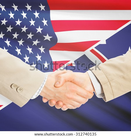 Businessmen shaking hands - United States and New Zealand