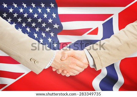Businessmen shaking hands - United States and Norway