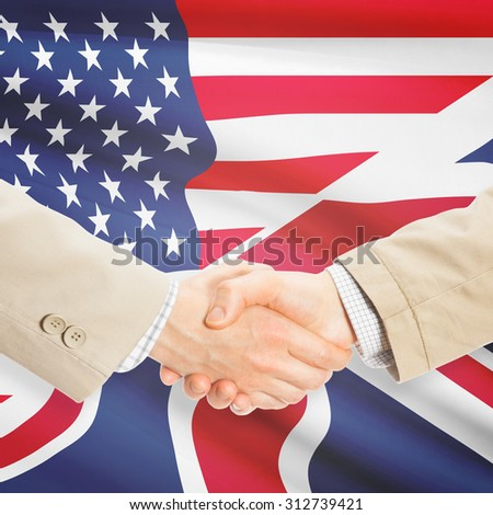 Businessmen shaking hands - United States and United Kingdom