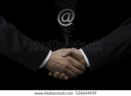 Businessmen Shaking Hands With email Symbol