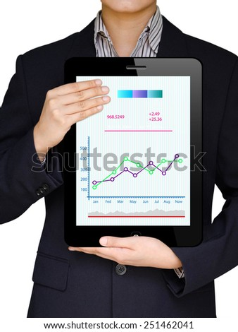 Businessmen show tablet to display Business graph, Technology and business - stock photo