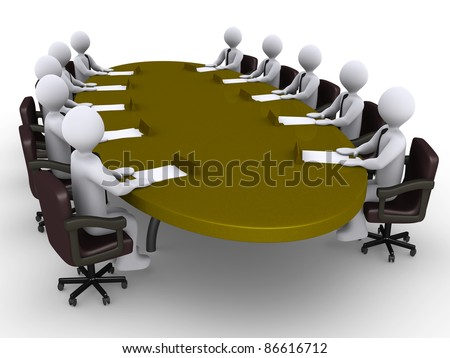 Businessmen sitting around a table which has a chart on top of it