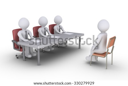 Businessmen sitting behind a desk and a person is sitting in front of them as conducting an interview - stock photo