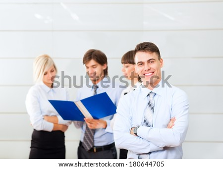 Businessmen smile folded hands, Business men people coworker standing at office, businesspeople colleague boss - stock photo