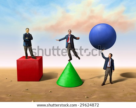 Businessmen using different basic shapes. Digital illustration - stock photo