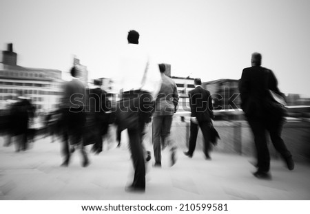 Businessmen walking to their workplace. - stock photo