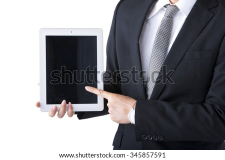 Businessmen who have in hand the tablet PC